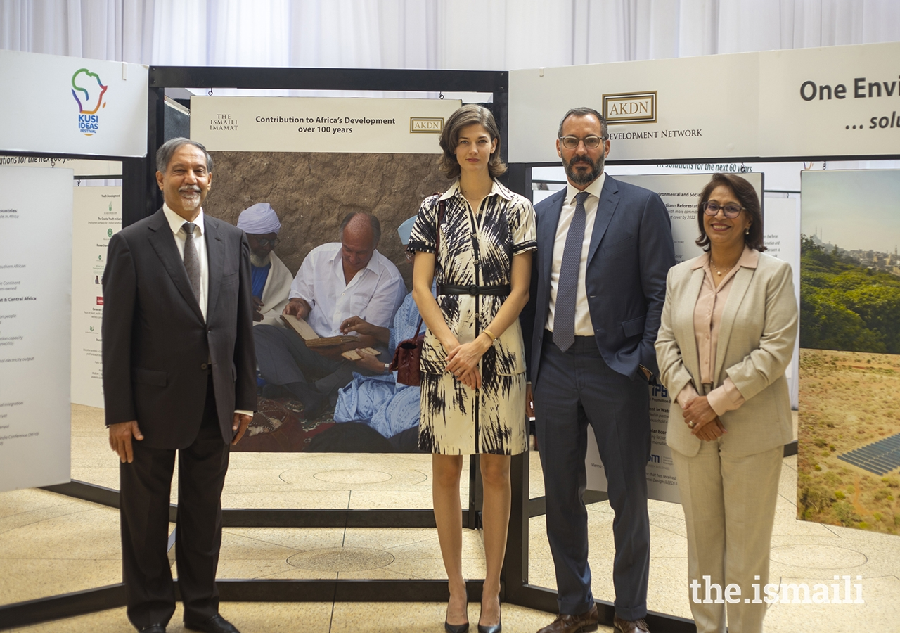 L to R: Dr Azim Lakhani, Diplomatic Representative of the AKDN in Kenya, Princess Salwa, Prince Rahim, and Mrs Shamira Dostmohamed, President of the Ismaili Council for Kenya pose for a photograph following the tour of the exhibition depicting 100 years of AKDN's contribution to Africa's development.