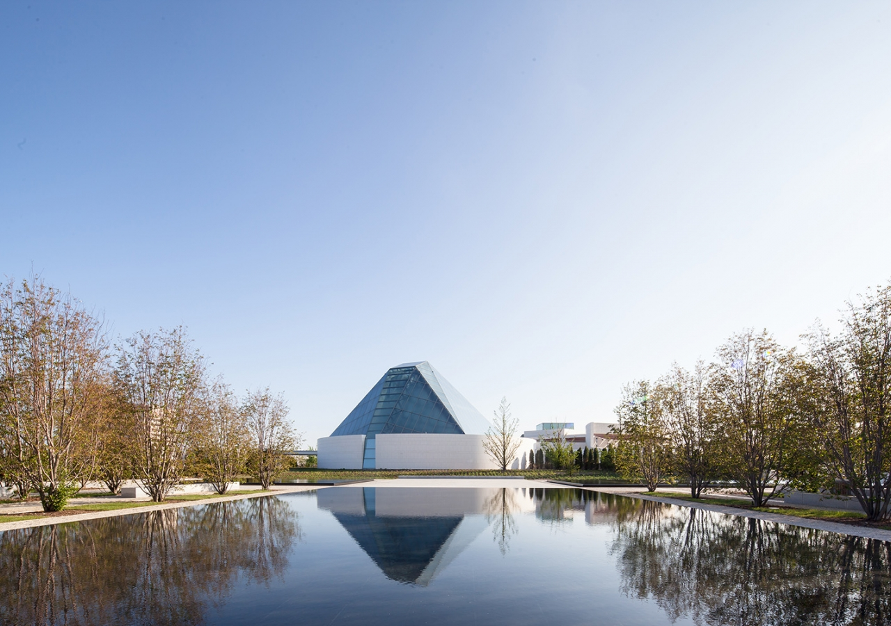 The formal gardens of the Aga Khan Park, with the Ismaili Centre prayer hall in the background. Scott Norsworthy