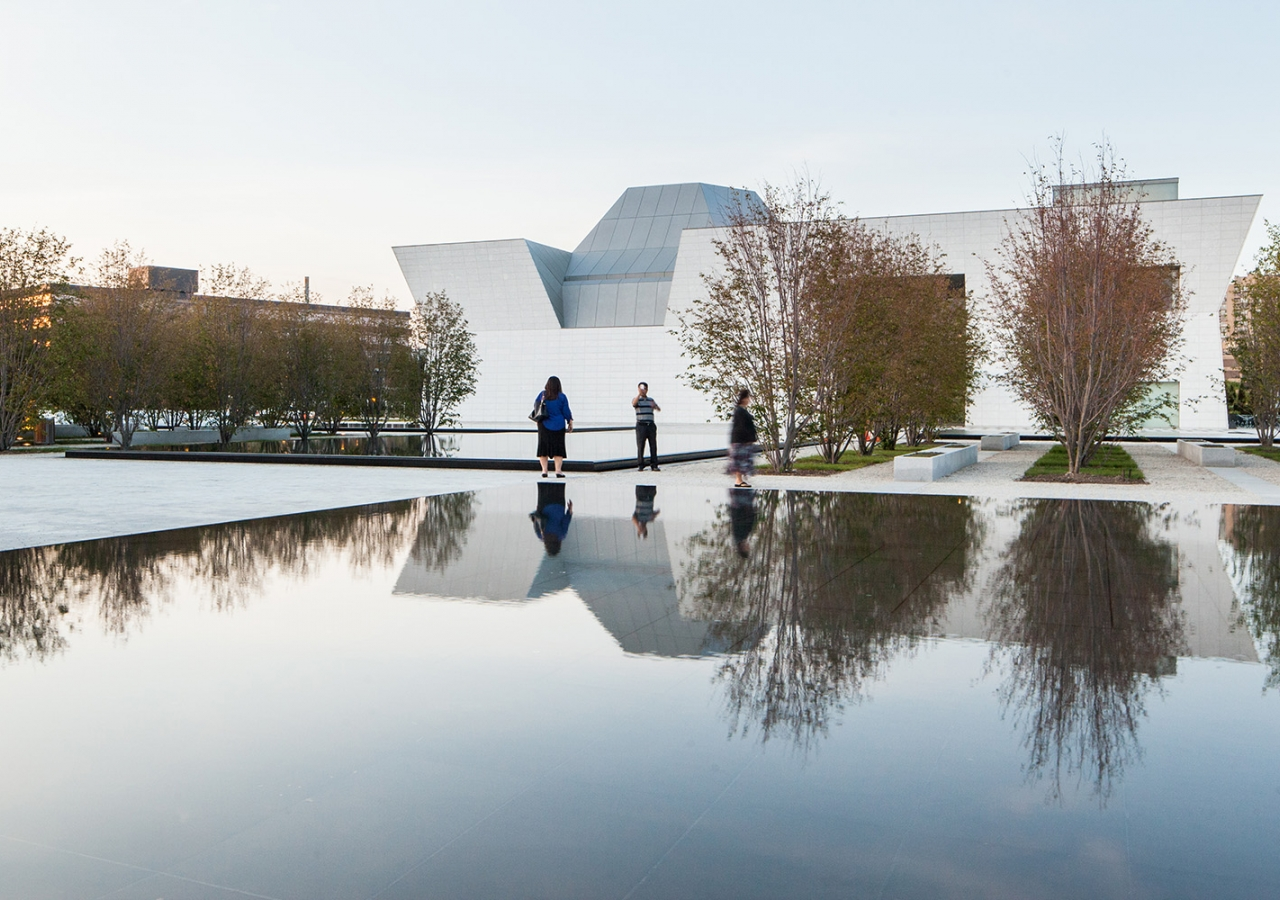 Surrounded by serviceberry trees and soft gravel, the reflective pools are mirrors that draw the Ismaili Centre and the Aga Khan Museum into the formal garden. Scott Norsworthy
