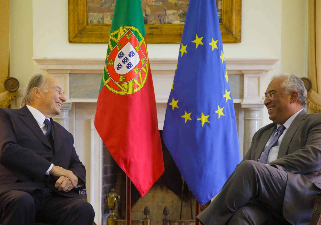 Mawlana Hazar Imam meets with Portuguese Prime Minister António Costa at the Prime Minister's official residence. AKDN / Luis Filipe Catarino