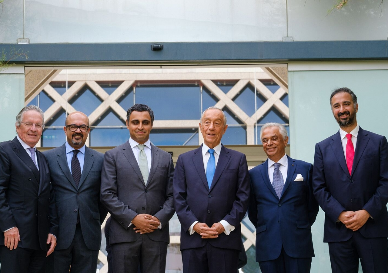 President Marcelo Rebelo de Sousa with senior leaders of the Seat of the Ismaili Imamat and senior Jamati leaders at the Ismaili Centre, Lisbon.