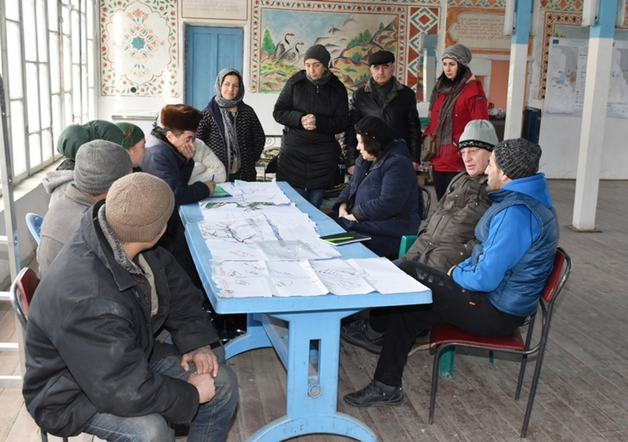 Shiraz and experts meeting with Watershed Working Group Members, Pokhut village, Ayni district.