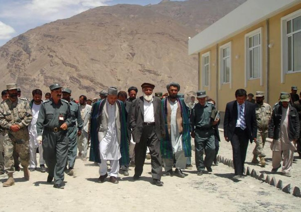 The Governor of Badakhshan and the President of the Ismaili Council for Afghanistan approach the Jamatkhana.