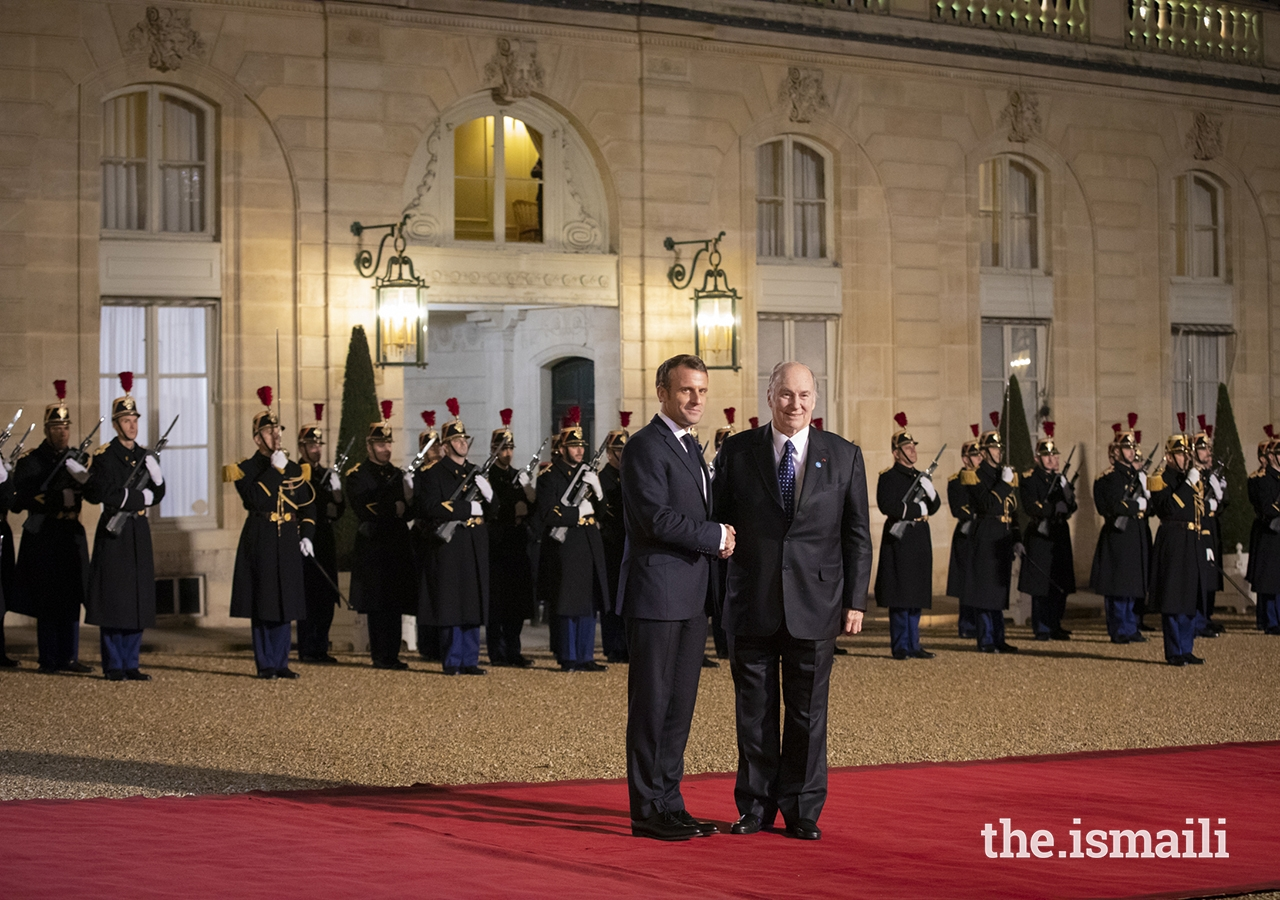 President Emmanuel Macron welcomes Mawlana Hazar Imam to the Élysée Palace for a dinner reception ahead of the Paris Peace Forum.