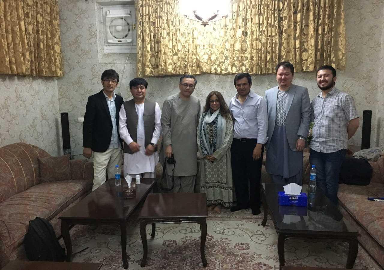 Dr. Seema Pissaris (centre) with Afghanistan Jamati Leadership. From left to right: Vice President Hadi Alizadeh; Council Executive Officer Niamatullah Mohammadi; President Amir Baig; Aitmadi Karim Dad Mehri; GRB Chairman Ziauddin Haidari; Program Manager Ferdous Farukh Amiry