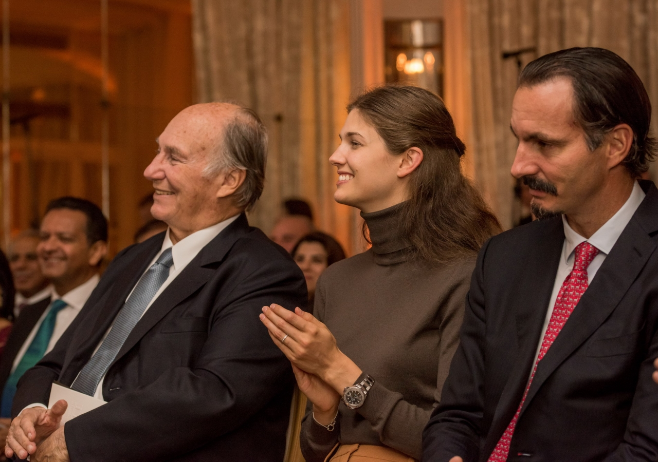 Mawlana Hazar Imam, Prince Rahim, and Princess Salwa at Prince Amyn's 80th birthday celebration.