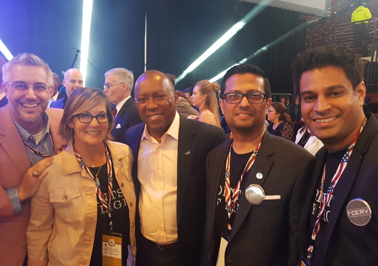 [From left] Cameron Waldner (CEO, Volunteer Houston), Kat Creech (honouree from Houston), Houston Mayor Honourable Sylvester Turner, Southwest Council President Murad Ajani, and Southwest Council Honorary Secretary Faisal Momin.
