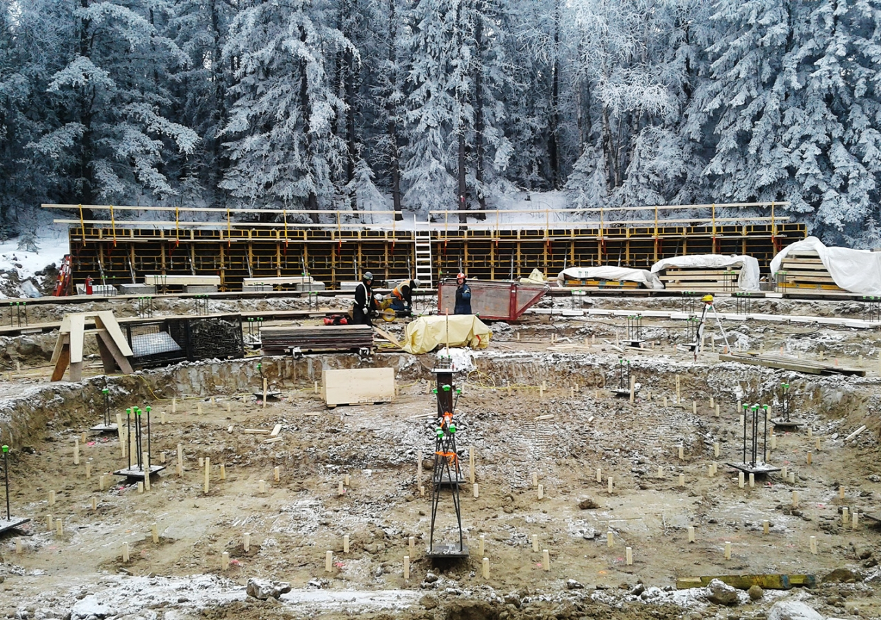 Construction for the Aga Khan Garden, pictured against its majestic winter backdrop, is underway. DIALOG