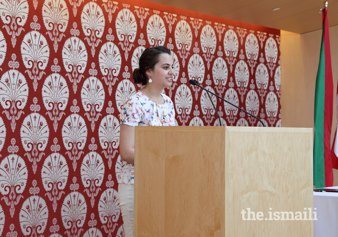 Muslima Niyozmamadova, an Aga Khan Academy graduate from Tajikistan, shared her hope of supporting development in her home country and her efforts to empower children from low-income families.