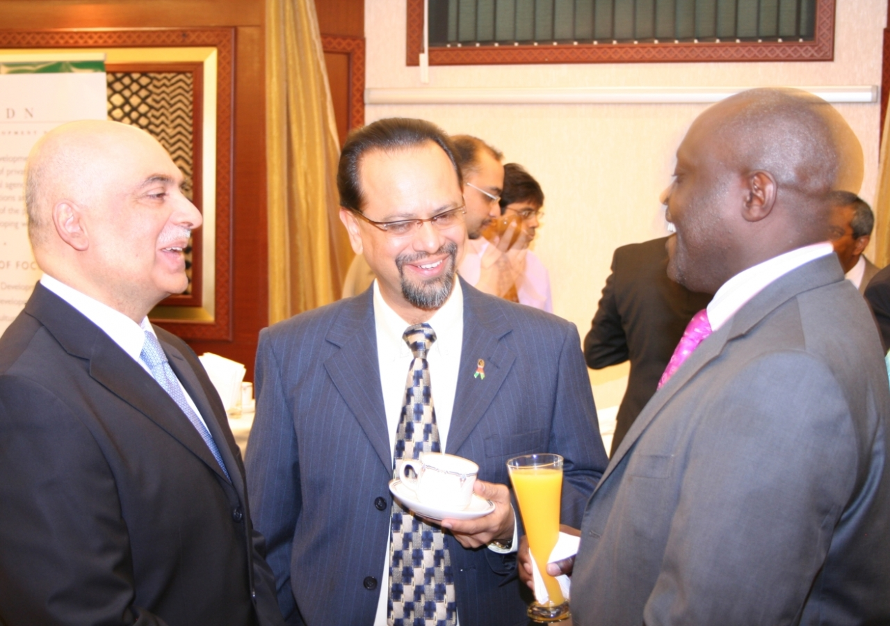 The Postmaster General of the Postal Corporation of Kenya, Mr Fred Odhiambo, Vice-President of the Ismaili Council for Kenya, Mr Anwar Hajee, and the Regional CEO of the Aga Khan Foundation, Mr. Arif Neky, at the launch function.