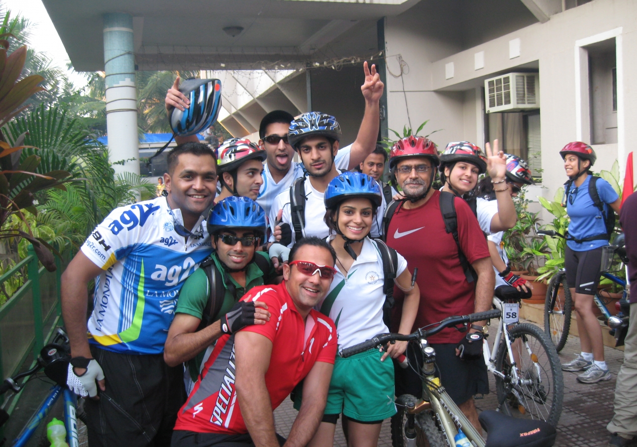 Ready for the first day of cycling: Having slept for one night at a hotel in Alibaug, participants from six countries were set to begin their long journey to Goa.