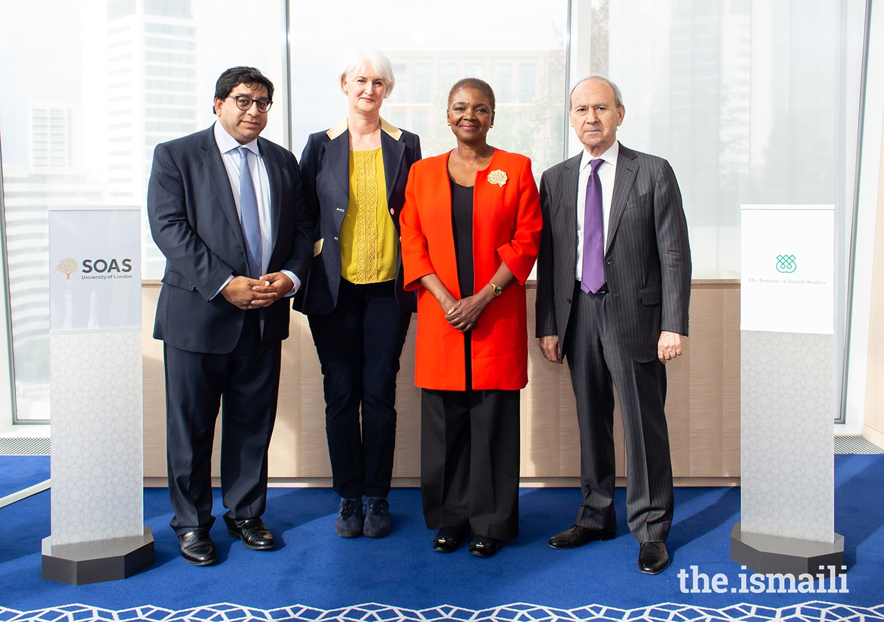 From left to right, Naguib Kheraj, IIS Board of Governor; Professor Deborah Johnston, Pro-Director Learning and Teaching, SOAS; Baroness Valerie Amos, Director, SOAS; Dr Farhad Daftary, Co-Director, IIS; at the celebratory event at the Aga Khan Centre.