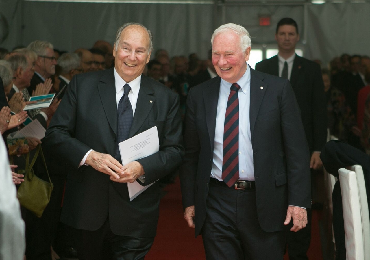 Mawlana Hazar Imam and Governor General David Johnston at the opening of the Global Centre for Pluralism's international headquarters in Ottawa