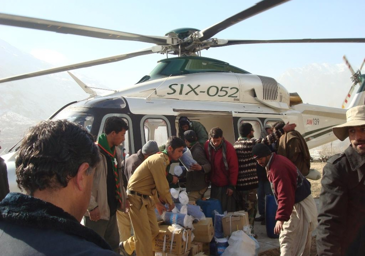 Ismaili volunteers offload medicine and relief supplies for people living in the Gojal valley.