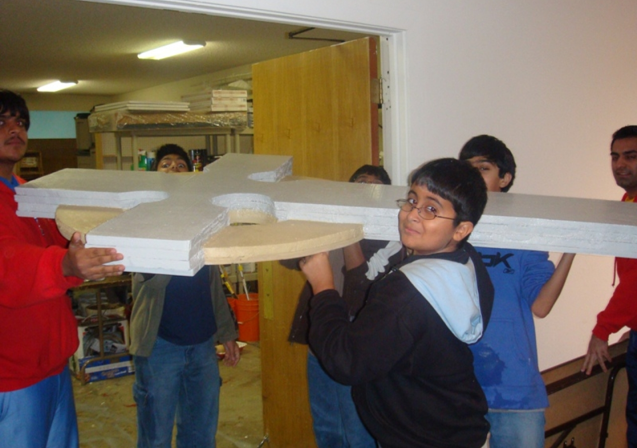 Kamron Hakemy received help from his fellow scouts in building a six-foot by four-foot Celtic cross.