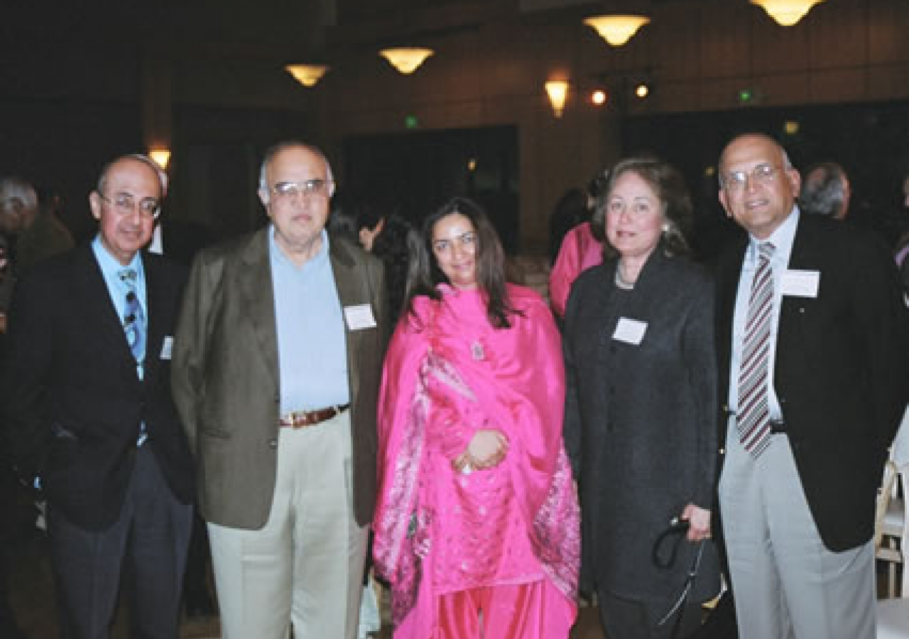Guests at the Milad in Palo Alto, California (from left to right): Dr. Rafiq Dossani, Chairman, Aga Khan Economic Planning Board for USA, Kanwal Rekhi, Silicon Valley entrepreneur, Samia Rashid, President, Council for the Western USA, and Professor and Mr
