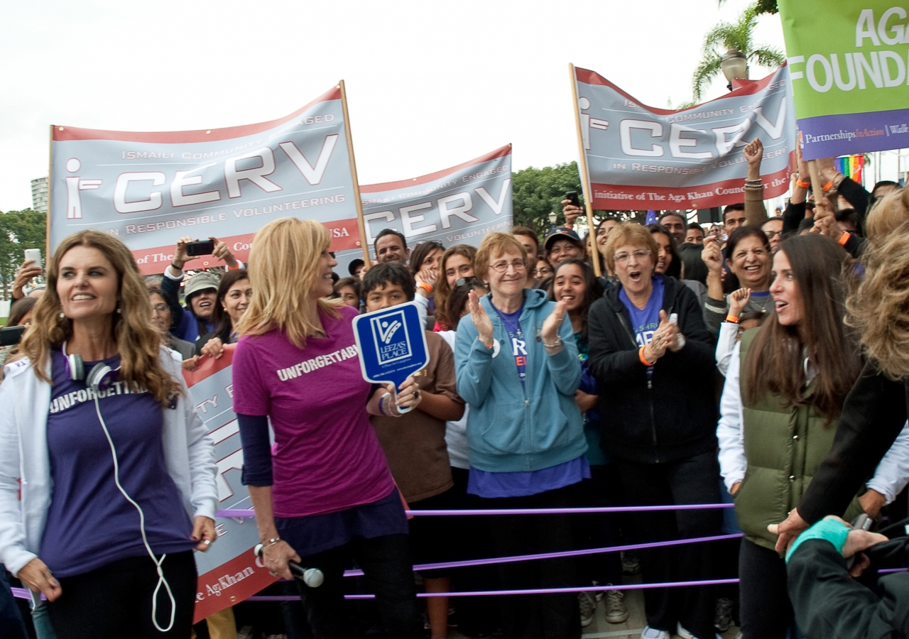 Participants from the Ismaili community gather behind California First Lady Maria Shriver at the start line of the March on Alzheimer's that bears her name.