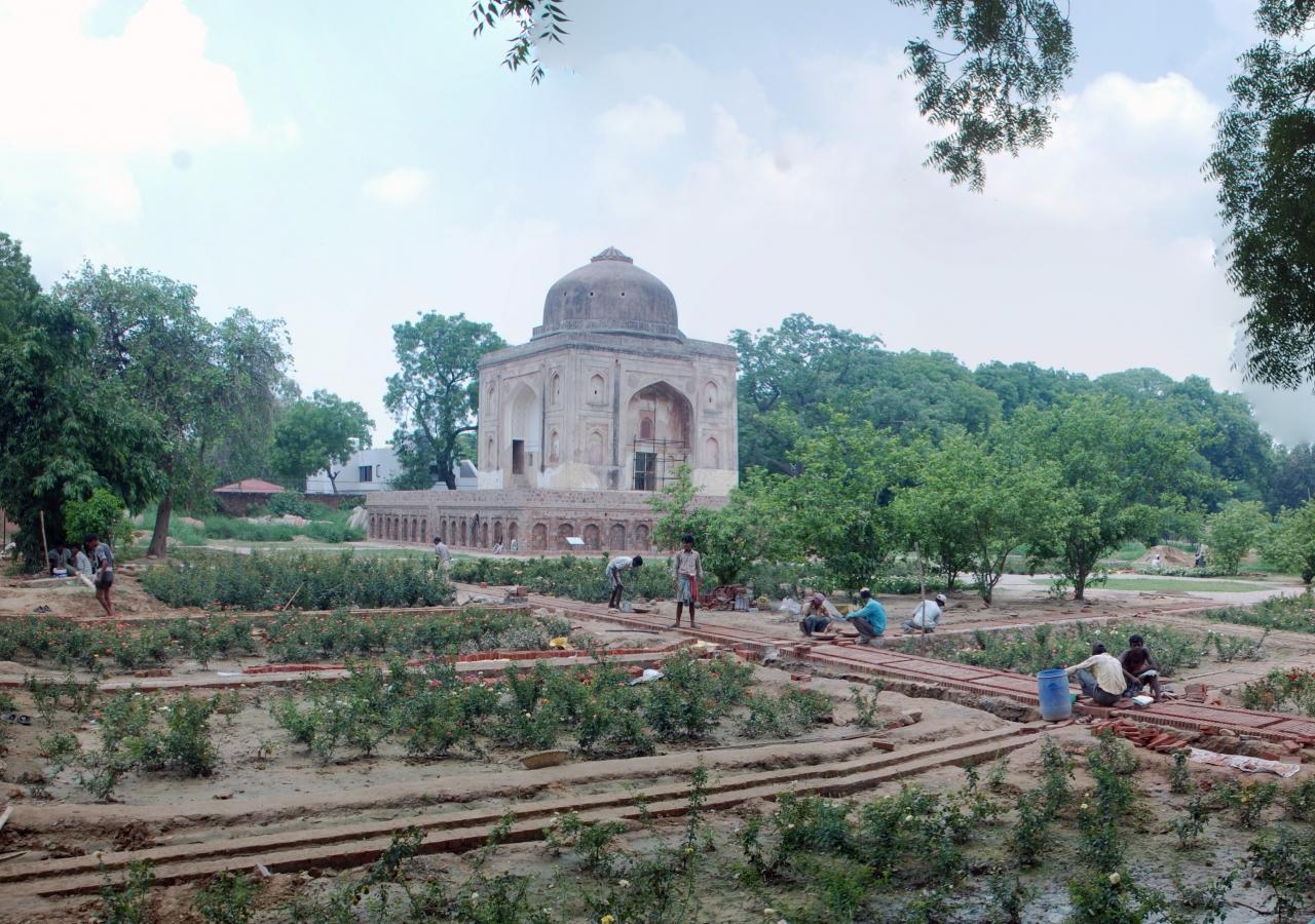 Ongoing landscaping works at the Lakkarwala Burj in Sunder Nursery.