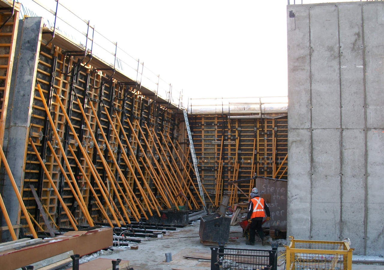 The formation of the inclined walls of the Aga Khan Museum, as seen on 9 December 2010 from what will eventually be the interior of the Museum.