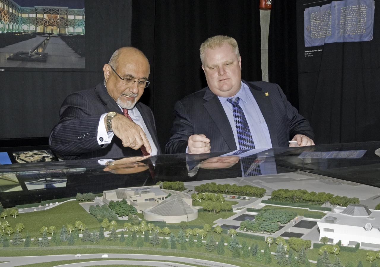 City of Toronto Mayor Rob Ford listens with interest as Ismaili Council for Canada President Mohamed Manji points out key features of the Ismaili Centre, the Aga Khan Museum and their Park.