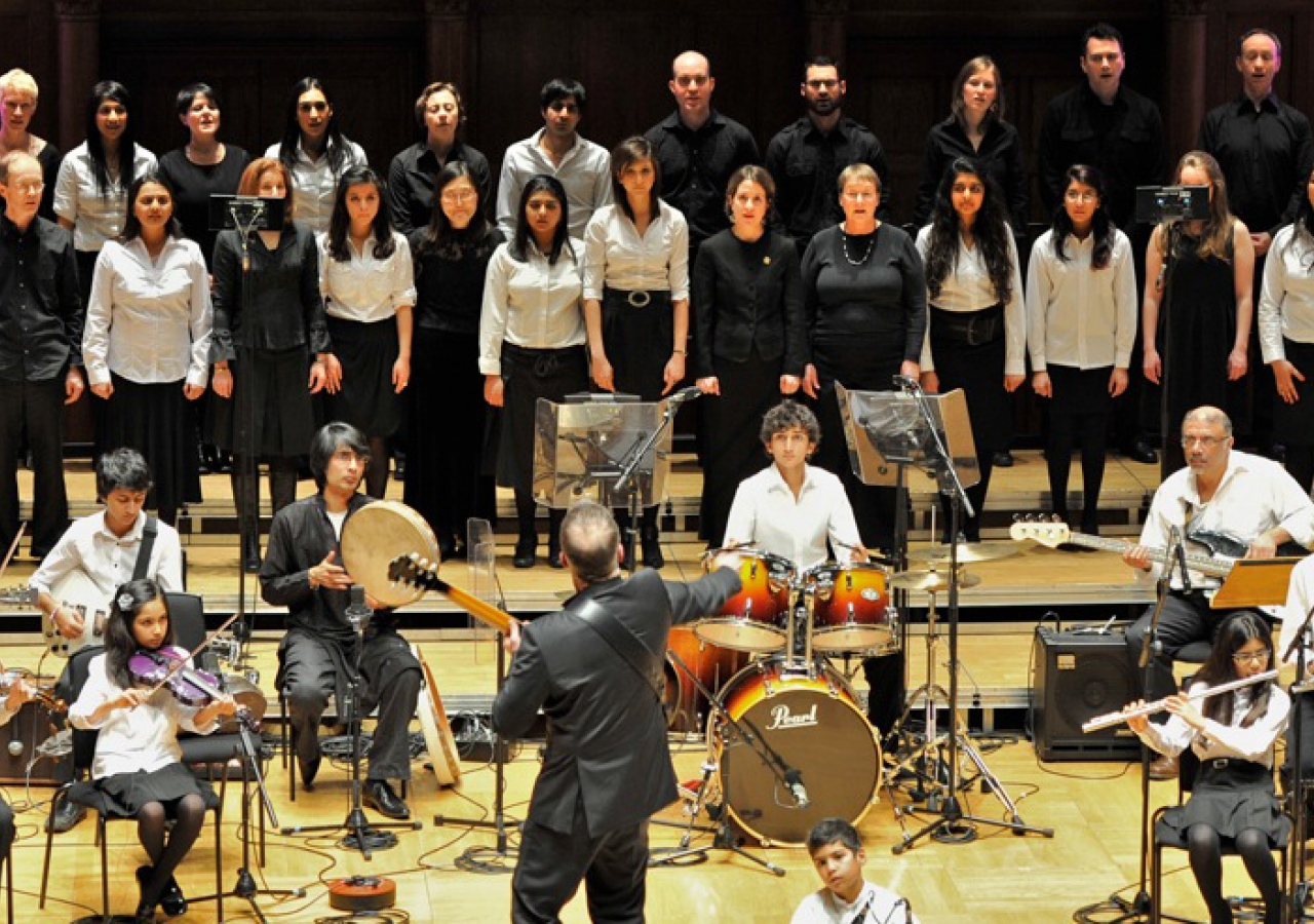 Pandemonium, the Morley Chamber Choir and the Ismaili Community Ensemble perform together at Cadogan Hall.