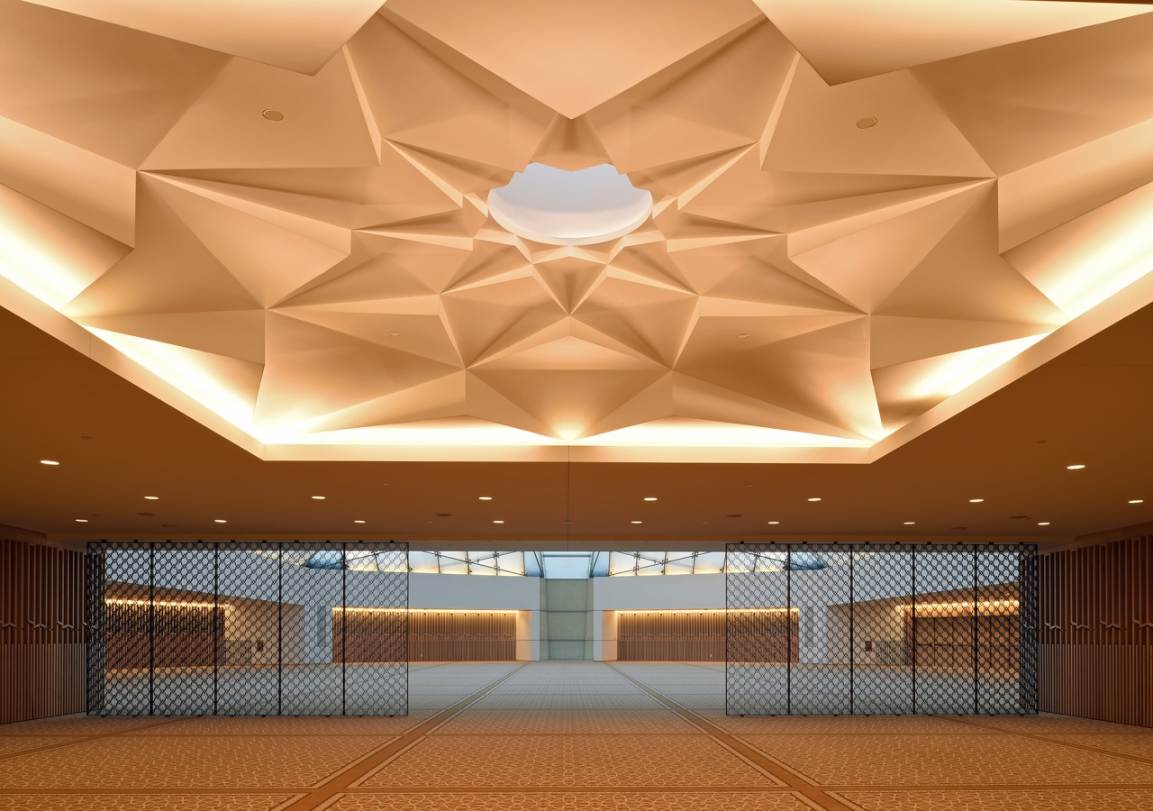 """The """"Muqarnas"""" is a finely crafted corbelled ceiling whose skylight provides a subtle transition from the outside to the serene Jamatkhana inside. Gary Otte"""