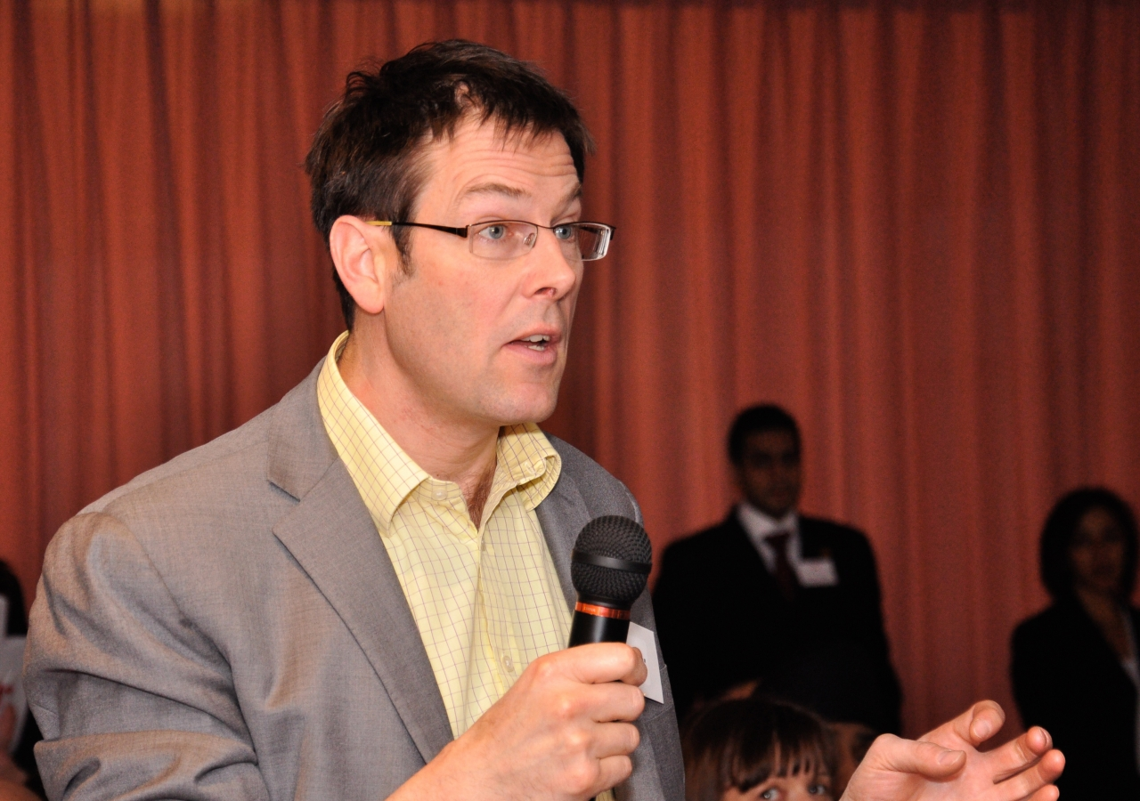 Dr Gordon Macmillan from MEND Childhood Obesity Programmes takes part in the lively panel discussion.