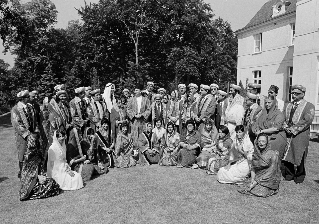 Mawlana Hazar Imam with Ismaili leaders from around the world on the occasion of his Silver Jubilee at a ceremony held at Aiglemont on 11 July 1982.