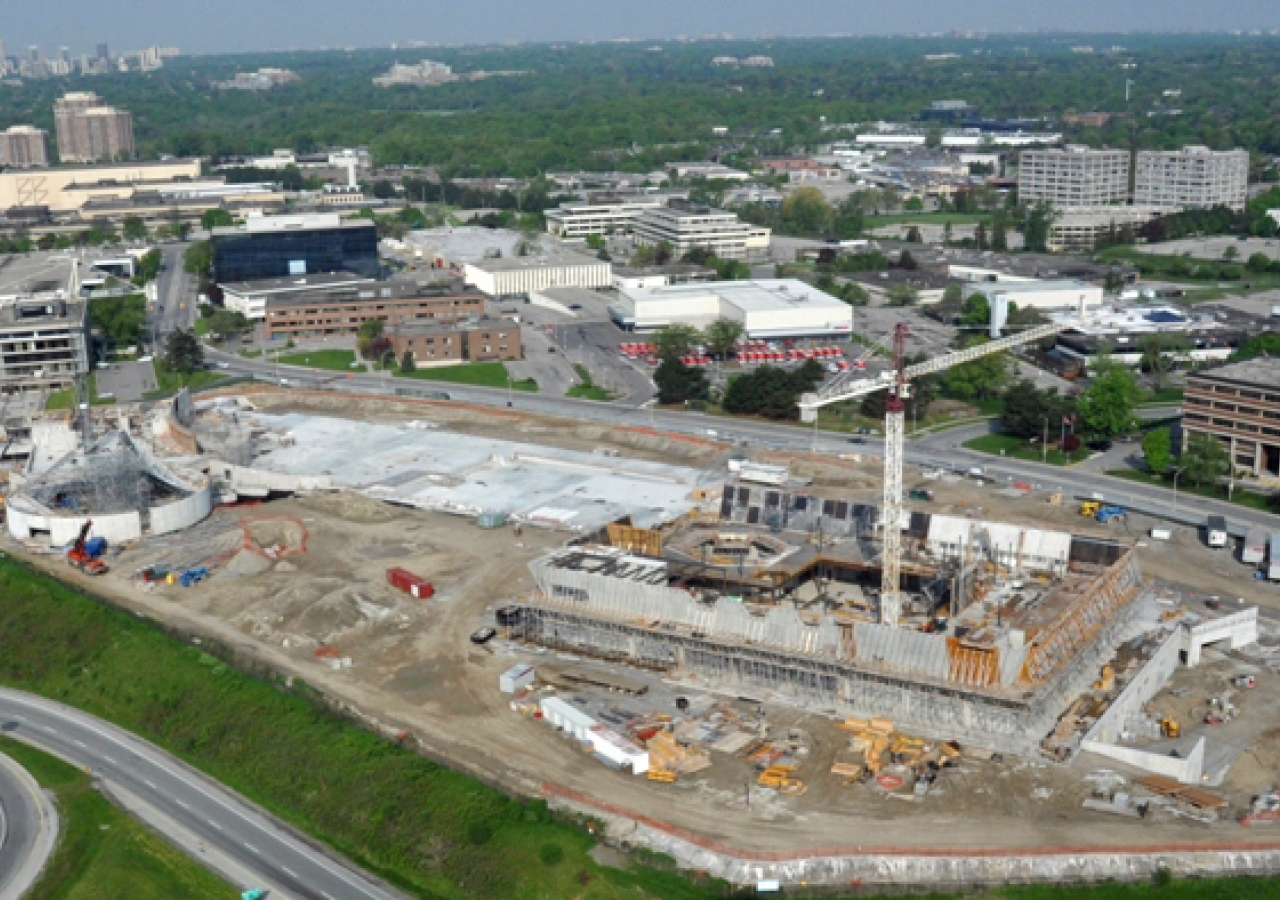 May 2011: As construction of the projects on Wynford Drive progresses, the prominent features of the Ismaili Centre, Toronto, and the Aga Khan Museum are starting to take shape.  This is a view of the construction site on 30 May 2011.