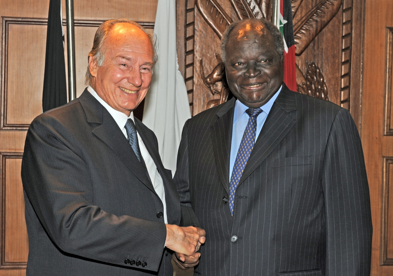 Mawlana Hazar Imam with His Excellency, President Mwai Kibaki of Kenya at Harambee House in Nairobi.