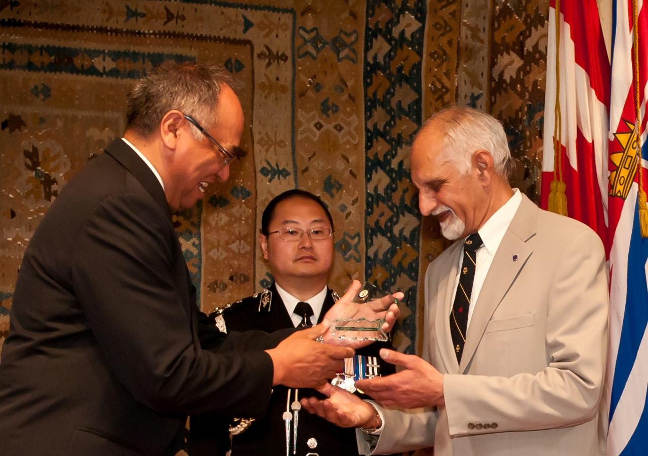 Rashid Fatehali is recognised by the Lieutenant Governor of British Columbia for 25 years of outstanding service to the Duke of Edinburgh programme.