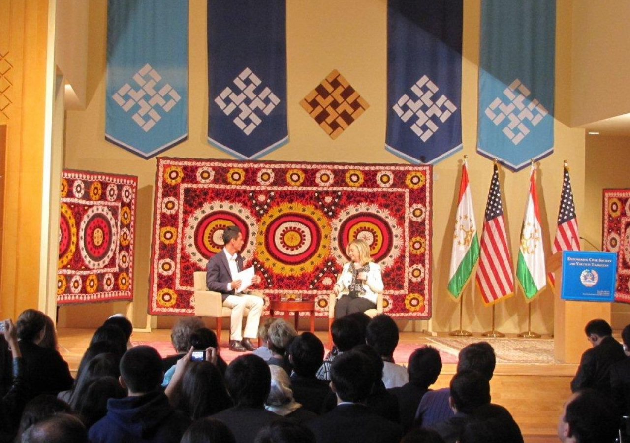 """Secretary Clinton addressed hundreds of people at the Ismaili Centre, Dushanbe, who gathered for a """"Town Hall with Women, Youth, and Civil Society."""""""