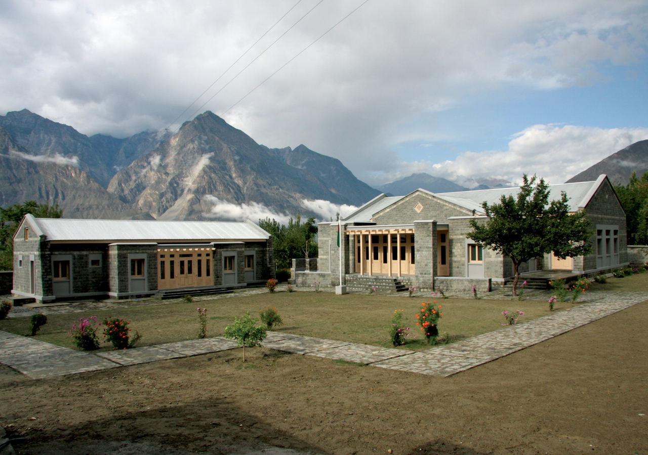 A view from within the court of the Danyore III Jamatkhana in Gilgit.