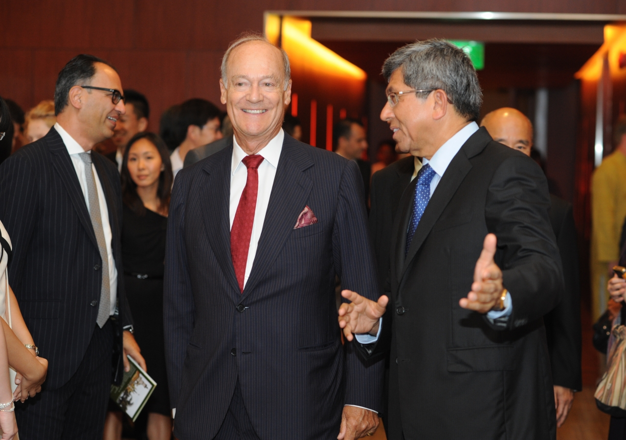 "Dr Yaacob Ibrahim, Singapore's Minster for Information, Communications and the Arts, and Prince Amyn arrive at the inauguration ceremony for ""Treasures of the Aga Khan Museum""."