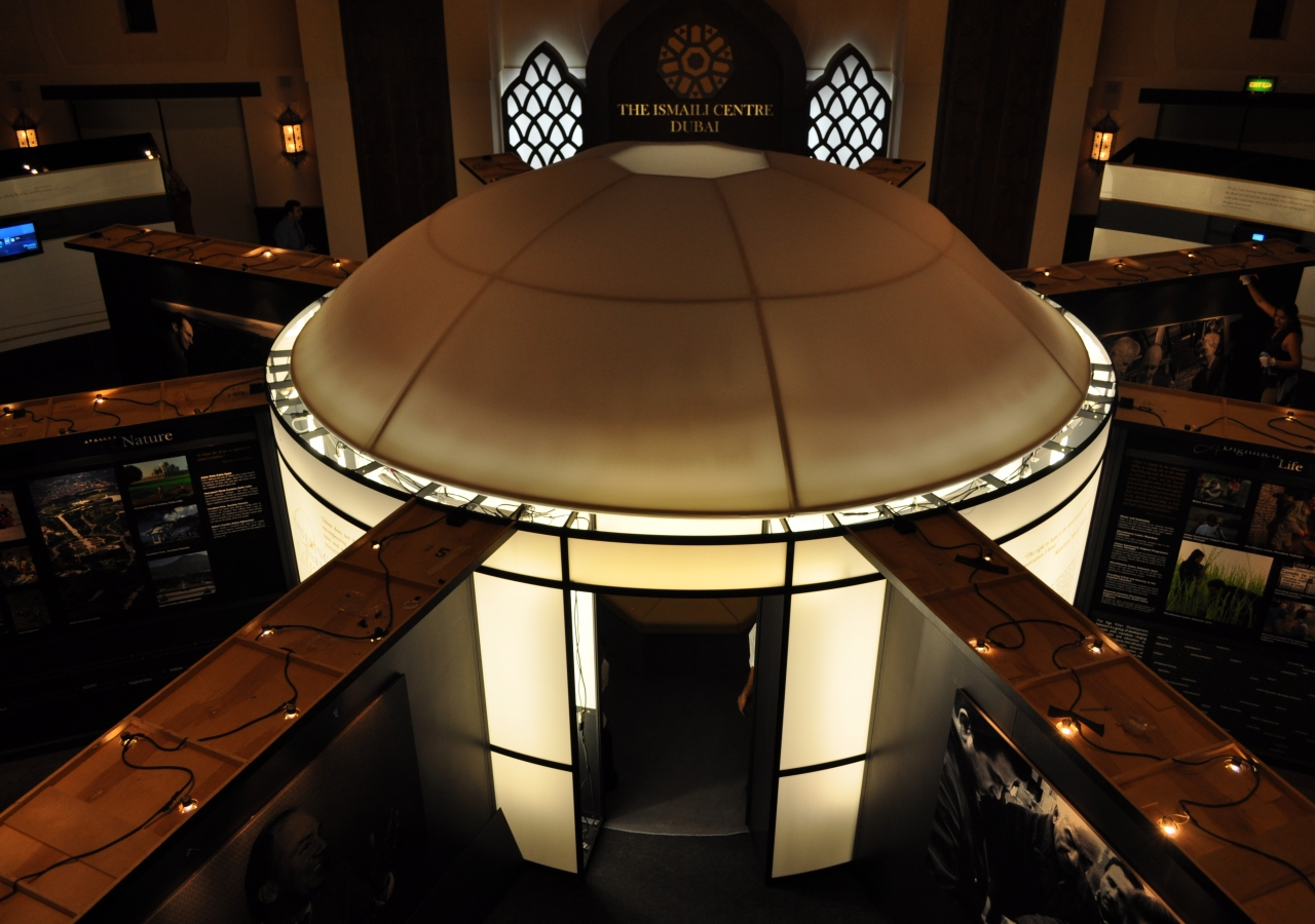 The circular RAYS OF LIGHT structure, set up in the Social Hall of the Ismaili Centre, Dubai.