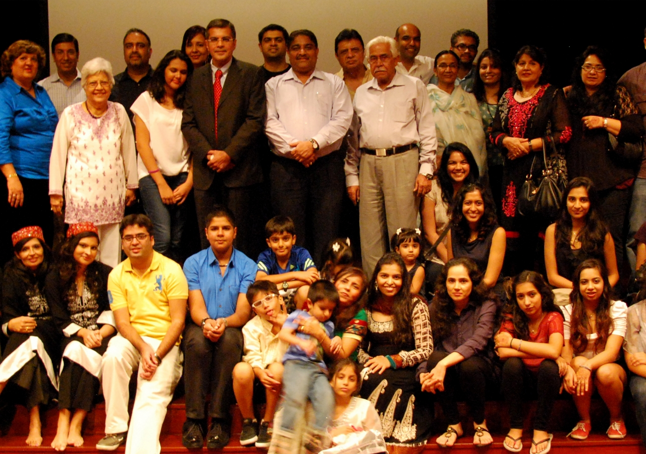 Members of the Jamat gather on stage for a photograph at the Asian Civilisations Museum in Singapore after their outreach event.