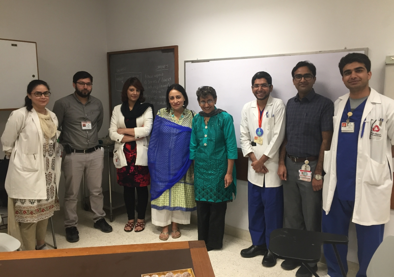 Dr Chagpar and Dr Amersi with AKU Postgraduate Trainees.