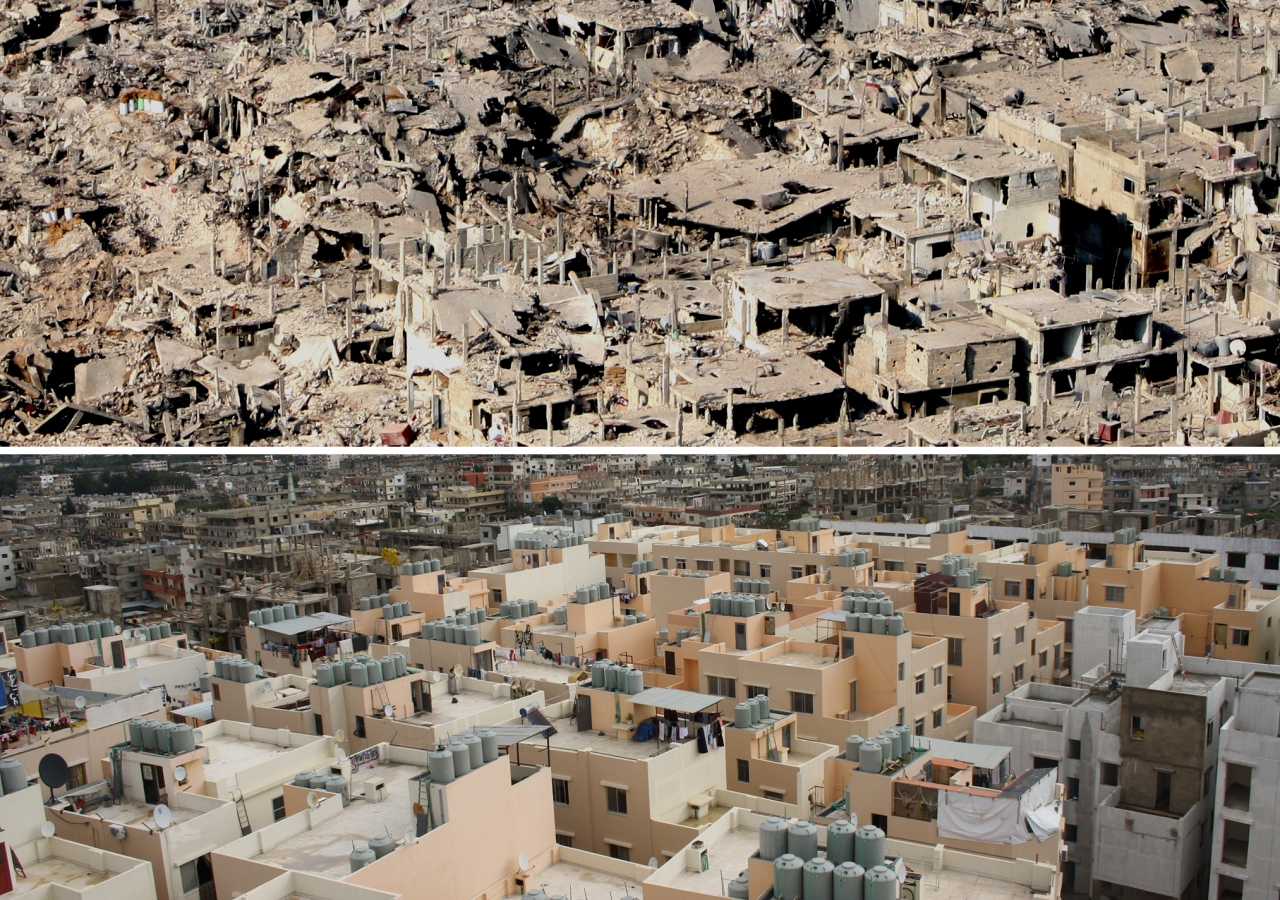 Nahr el-Bared Refugee Camp before reconstruction, and afterwards. Nearly destroyed in the violence of 2007, its restoration has earned it a place on the 2013 Award shortlist.