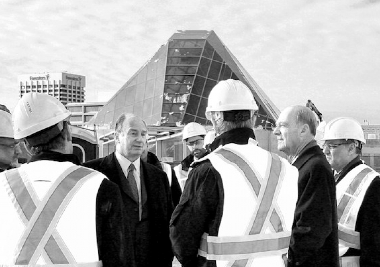 "Mawlana Hazar Imam and Prince Amyn visit the site of the Aga Khan Museum, the Ismaili Centre, Toronto and their Park. The development has been described by the local media as a ""crown jewel"" for the Don Mills neighborhood where it is situated."