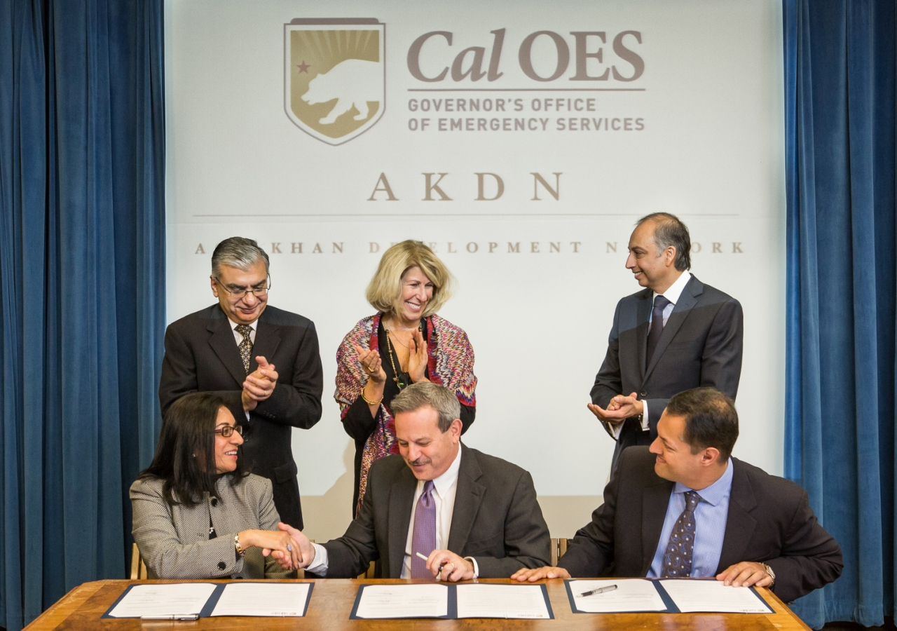 The Memorandum of Understanding signed by AKDN, FOCUS and the California Governor's Office of Emergency Services builds on the 2009 Agreement of Cooperation between the Ismaili Imamat the State of California.