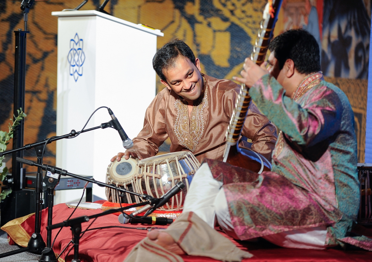 Mohammed Assani and Shahbaz Hussain perform on the sitar and tabla.