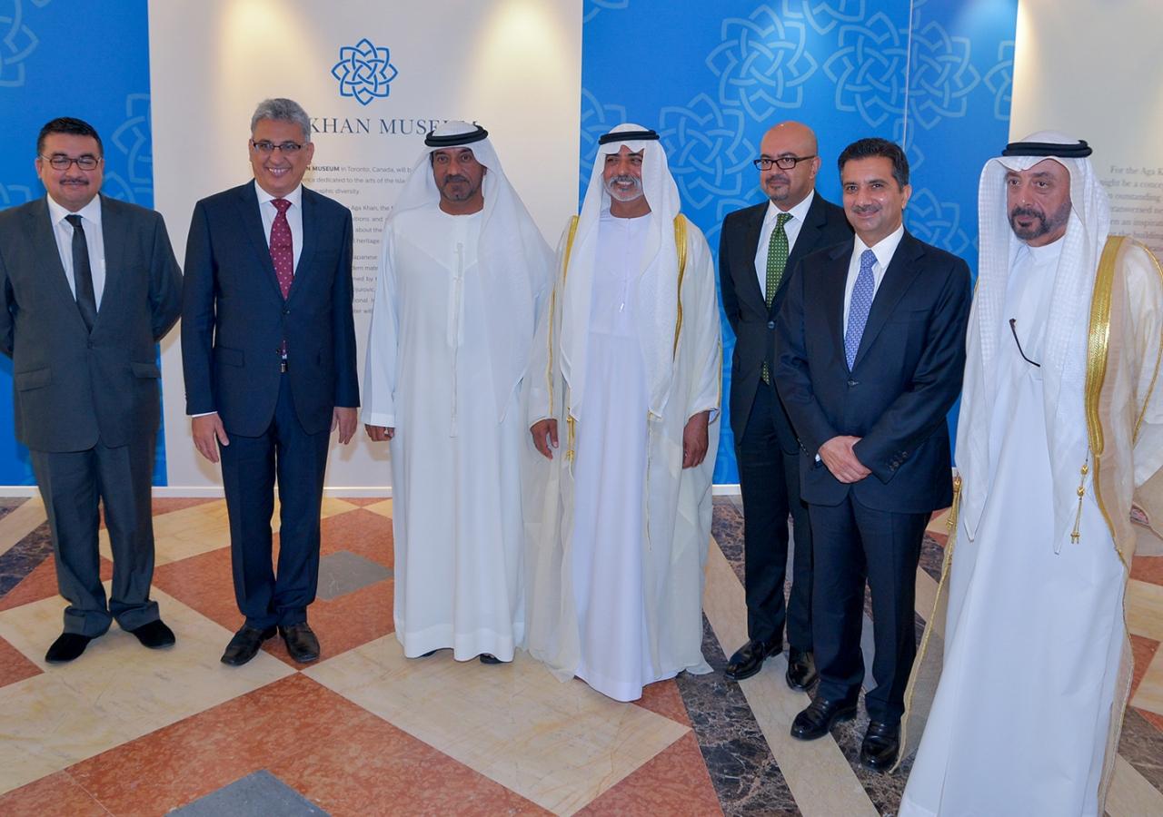 Aziz Merchant, Vice-President of the Ismaili Council UAE; Amirudin Thanawalla, President of the Ismaili Council for the UAE; HH Sheikh Ahmed bin Saeed Al Maktoum; HE Shiekh Nahyan Mabarak Al Nahyan; HE Arif Lalani, Canadian Ambassador to the UAE; Sultan A