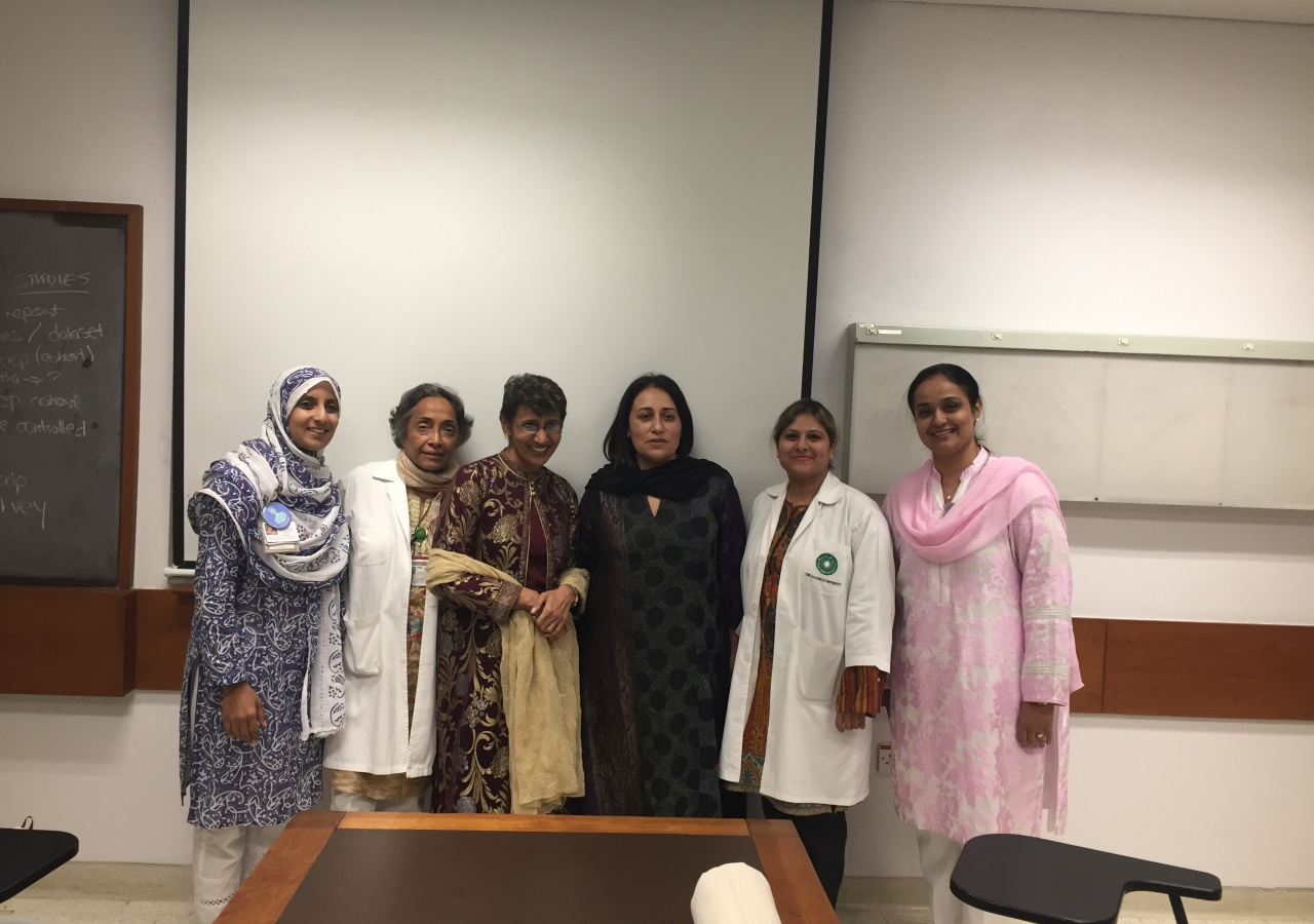 Dr Chagpar and Dr Amersi with AKU faculty.