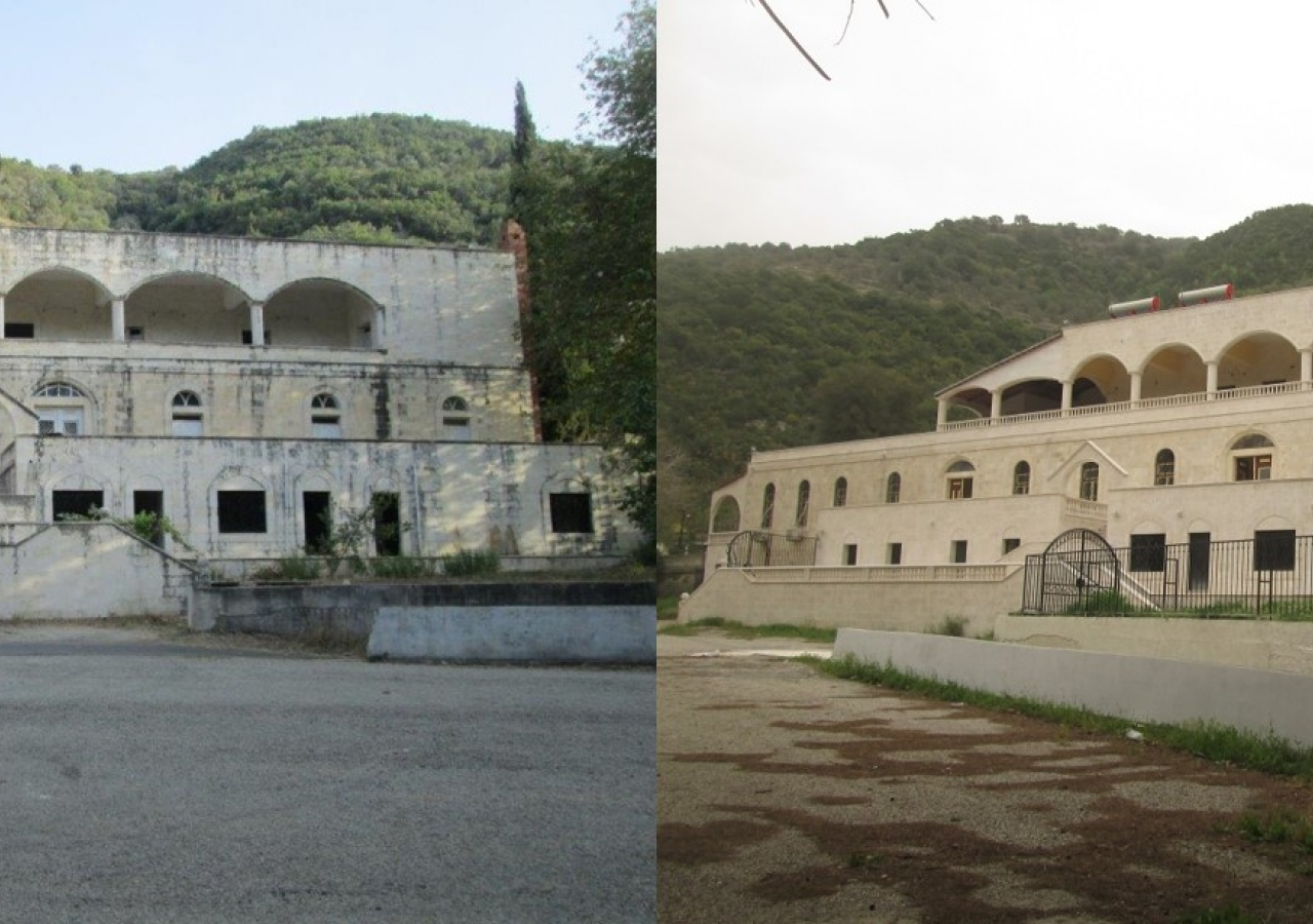 Al-Mohammadiyah School, Al-Khawabi, Syria - pictured before renovation (left), and the school after renovation for use as Emergency Operations and Reception Centre (right).