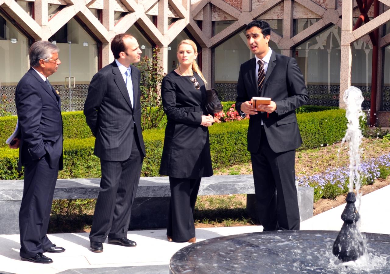 Prince Hussain and Princess Khaliya tour the gardens of the Ismaili Centre, Lisbon, accompanied by Nazim Ahmed, AKDN Representative for Portugal and Rahim Kassam, EO of the Ismaili Council for Portugal