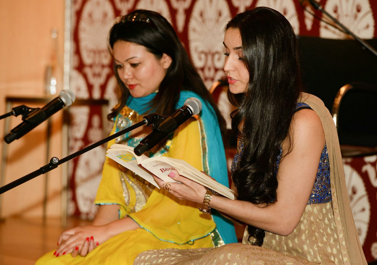 Yasmin Assadzada and Wahida Zahoori recite prose and poetry by Nasir Khusraw at the Ismaili Centre, Toronto. Alnoor Meralli