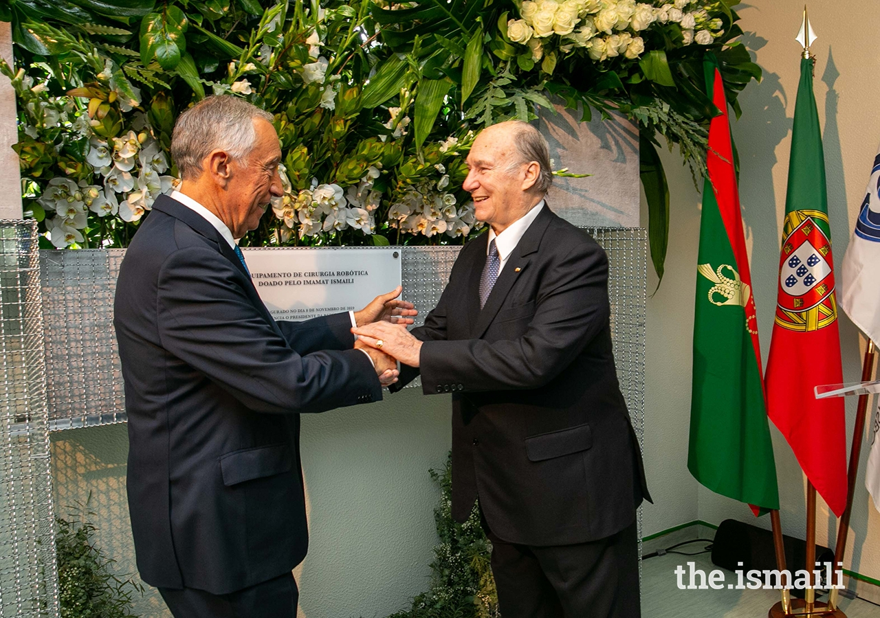 His Excellency Marcelo Rebelo de Sousa conveys his gratitude to Mawlana Hazar Imam at a ceremony to recognise the gifting, by the Ismaili Imamat, of robotic surgical equipment at the Curry Cabral Hospital in Lisbon.