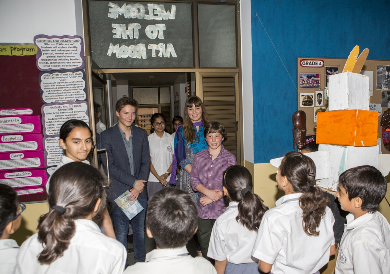 Junior School students welcome Prince Aly Muhammad, Sara and Iliyan to their art classroom. Nazim Lokhandwala