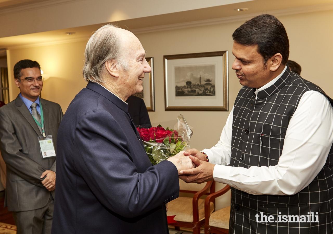 Mawlana Hazar Imam meets with Shri. Devendra Fadnavis, Chief Minister of Maharashtra.