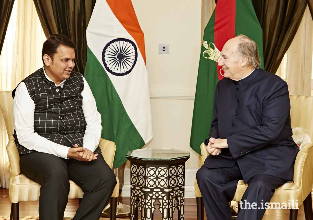 Chief Minister of Maharashtra, Shri Devendra Fadnavis in conversation with Mawlana Hazar Imam.